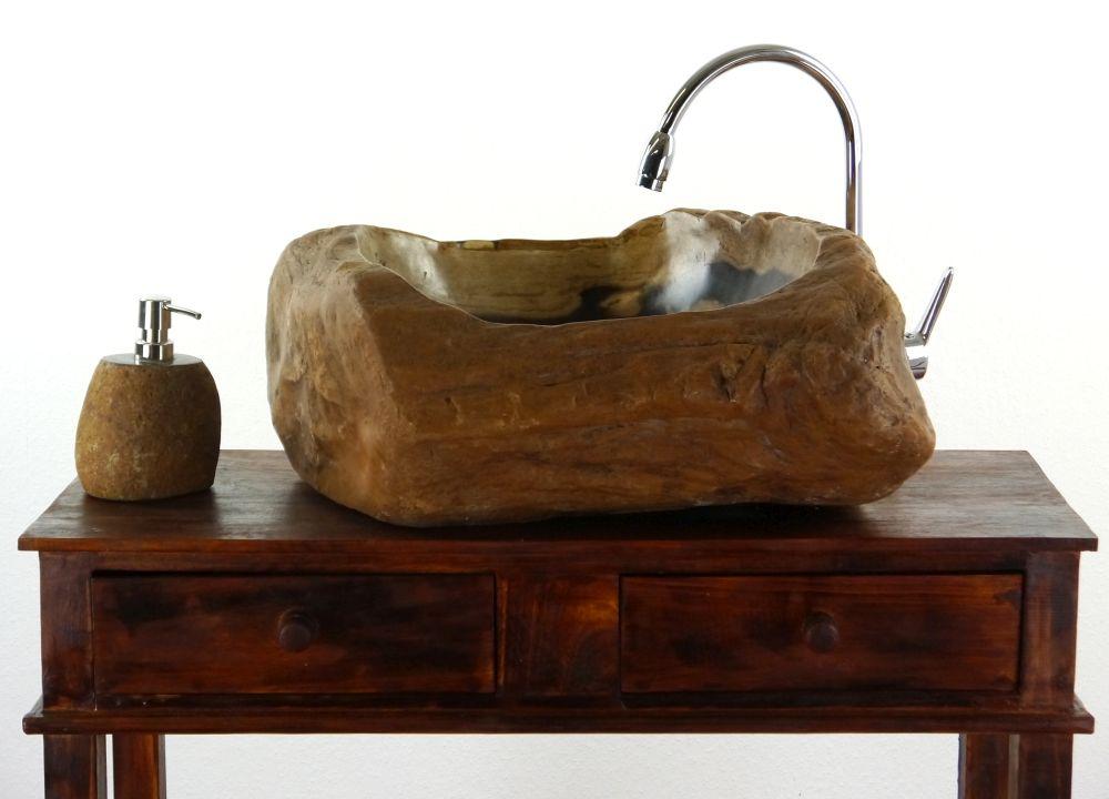 waschbecken, versteinertes holz, waschschale,waschtisch, Moderne