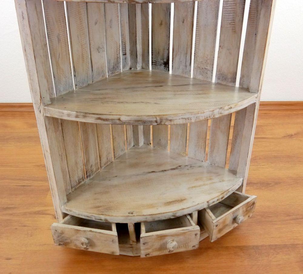 eckregal whitewash holzregal standregal eckkommode. Black Bedroom Furniture Sets. Home Design Ideas