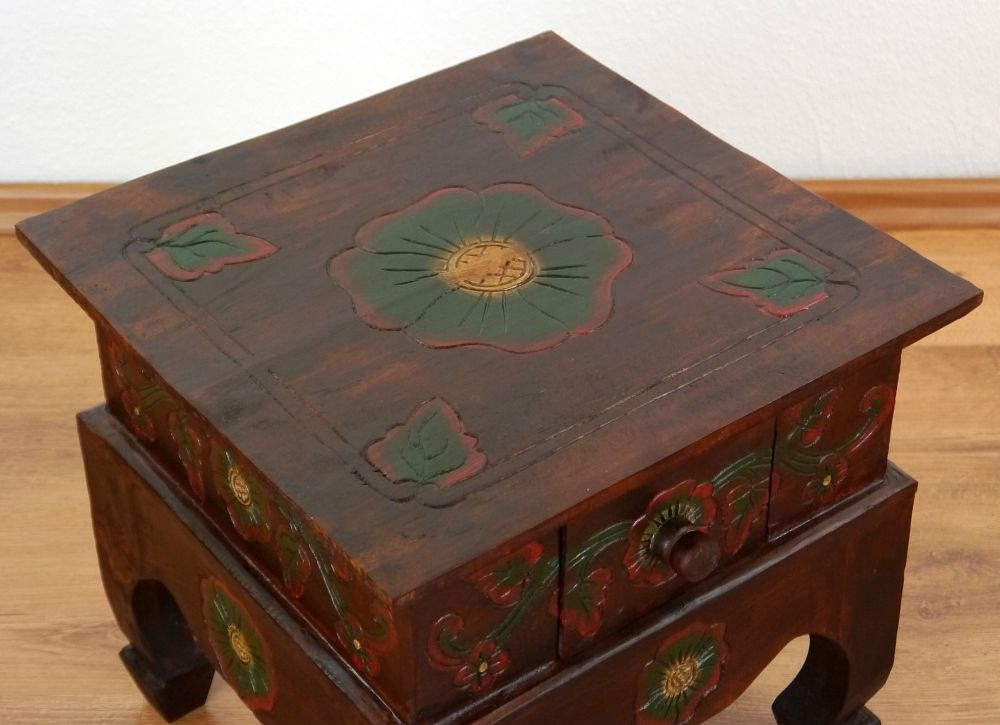 Asian Opium Table Drawer Flower Handmade Bali Furniture Coffee Table Indonesia