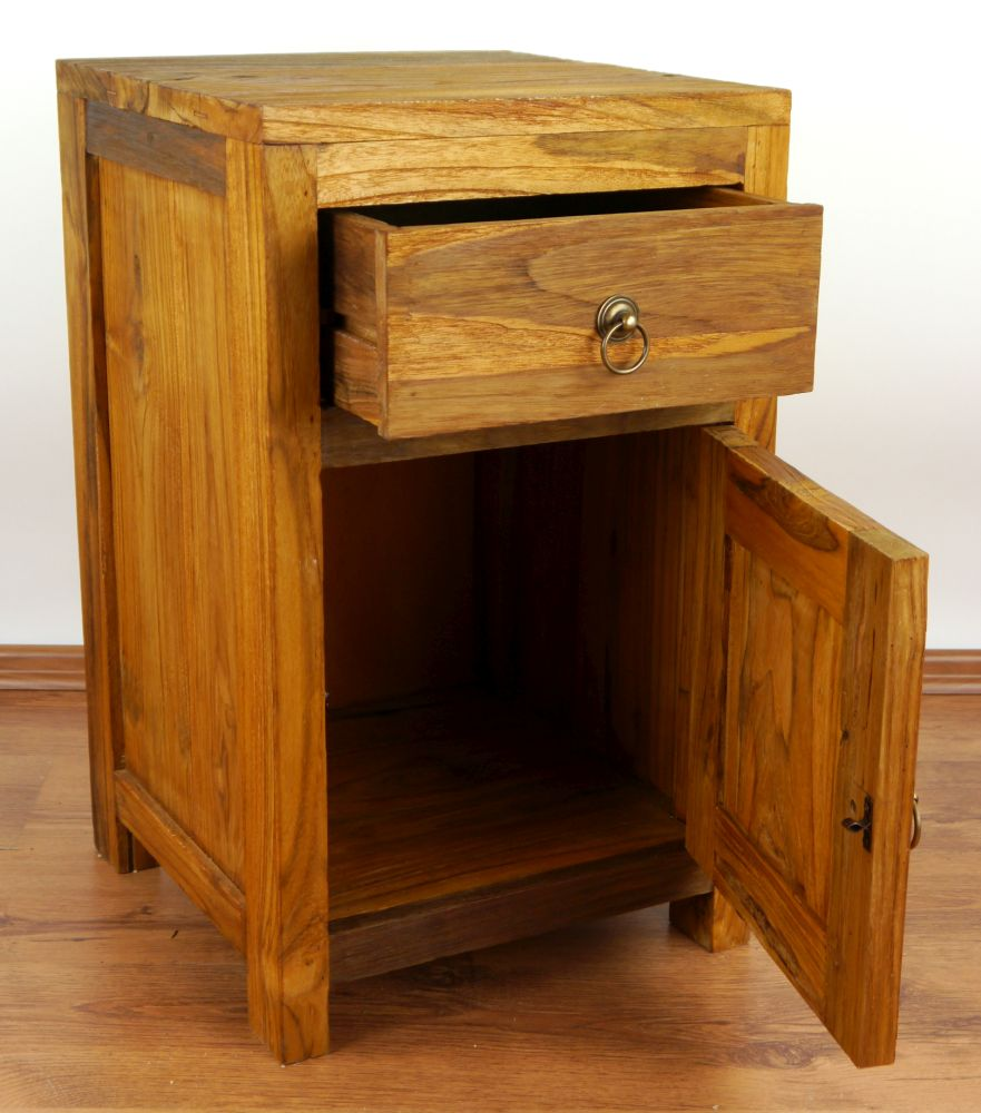 teak wood bedside table rustic design small cabinet cupboard java furniture ebay. Black Bedroom Furniture Sets. Home Design Ideas