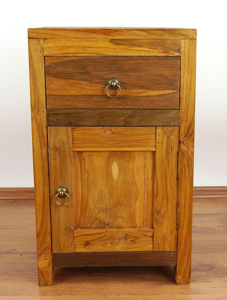 Rustic Wood Bedside Table: Teak Wood Bedside Table Rustic Design Small Cabinet