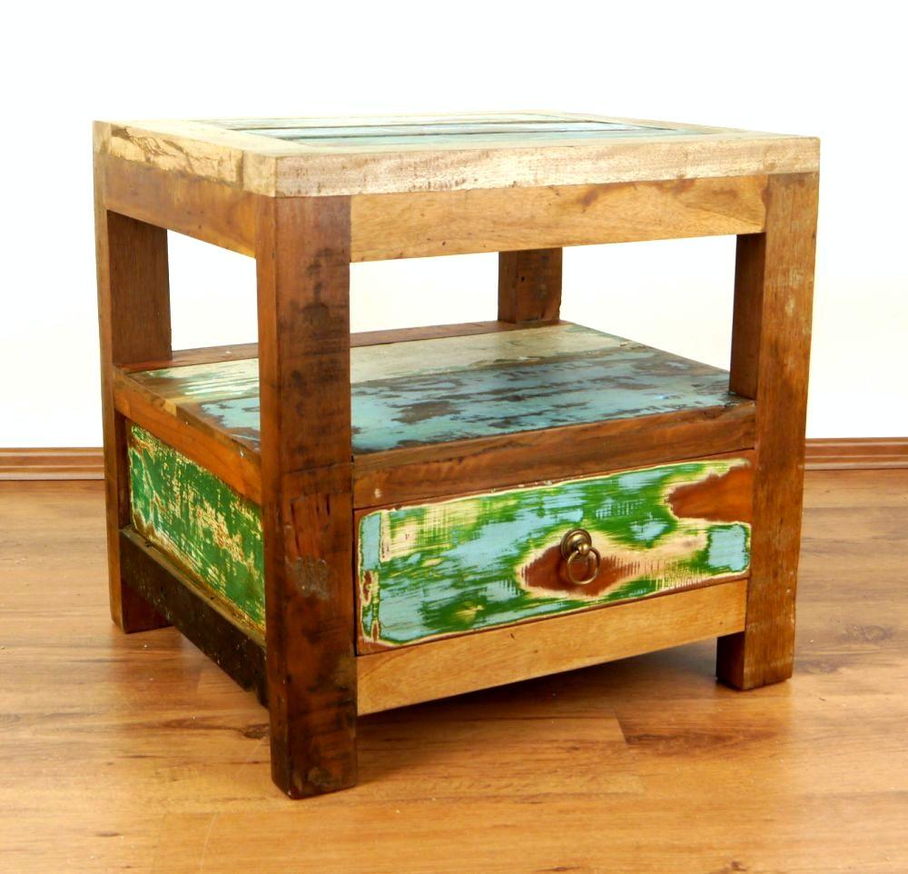 Colourful Bedside Table Reclaimed Teak Wood Java Furniture