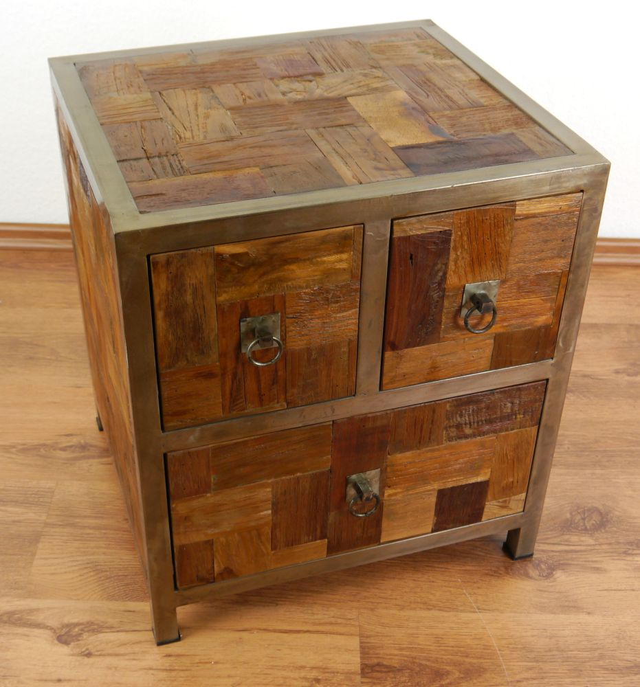 39 modern industrial design 39 chest of drawers bedside table for Wood and metal bedside table