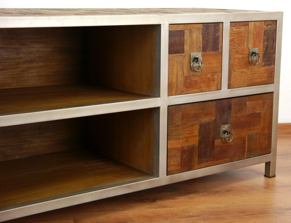 java metall trifft teak sideboard kommode tv schrank. Black Bedroom Furniture Sets. Home Design Ideas