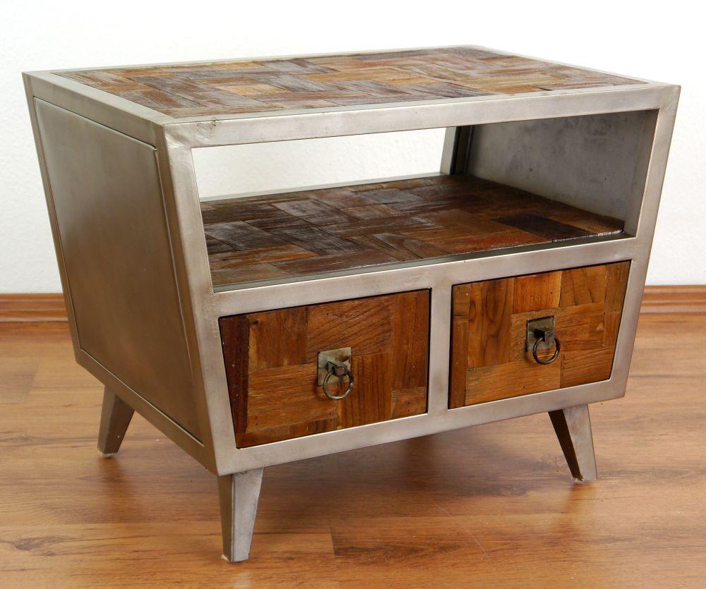 39 modern industrial design 39 bedside table 2 drawers teak. Black Bedroom Furniture Sets. Home Design Ideas