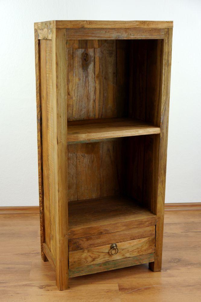 Regal mit Schublade aus recyceltes Teakholz, Standregal, Bücherregal ...