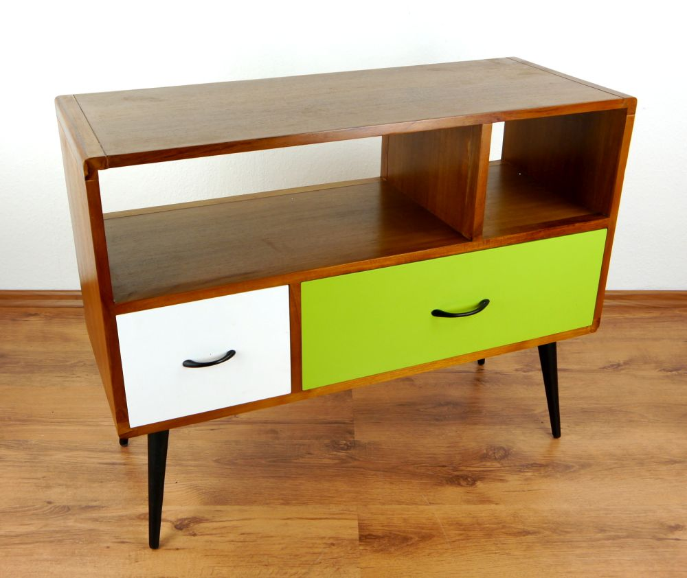 java retro sideboard gr n wei 2 schubladen phonoschrank teakholz hifi bank ebay. Black Bedroom Furniture Sets. Home Design Ideas