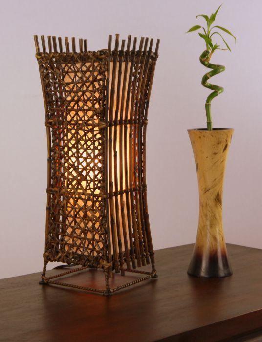 Nachtischlampe Aus Bambus Tischlampe Asia Lampe Tischleuchte Handarbeit