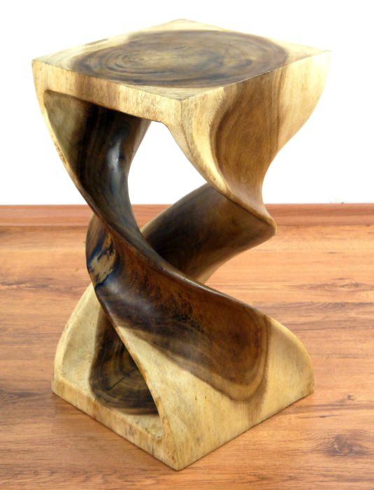 Unfinished Wood Plant Stand ~ Wooden display stand double twist look solid wood plant