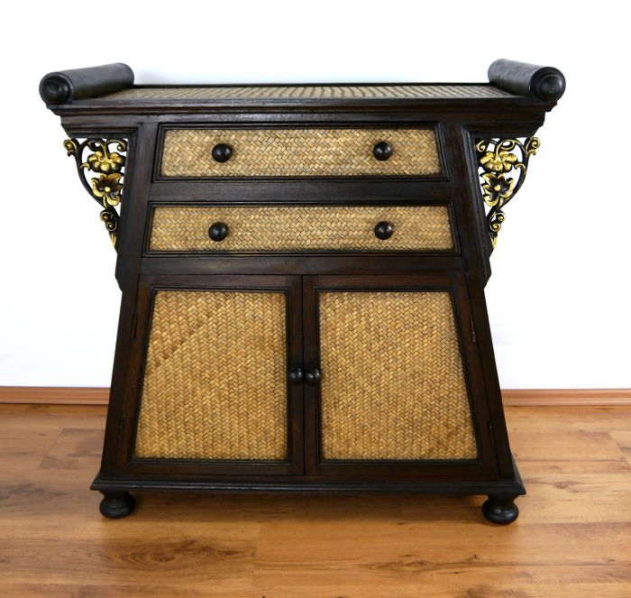 asiatischer schrank aus rattan massivholz kommode m bel asia tv bali nr 4 ebay. Black Bedroom Furniture Sets. Home Design Ideas
