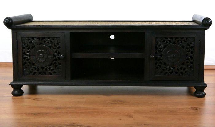Asiatisches rattan sideboard hifi tv kommode schnitzerei for Sideboard orientalisch