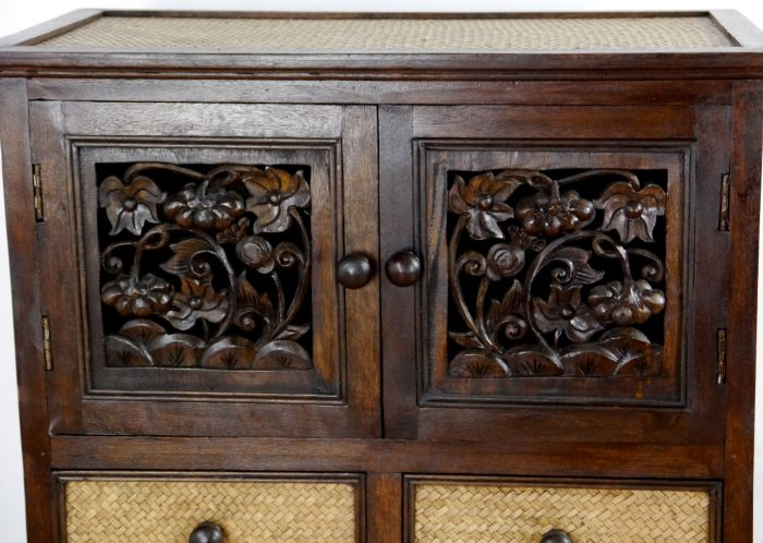 asiatische rattankommode mit schnitzerei asia m bel thai schrank ebay. Black Bedroom Furniture Sets. Home Design Ideas