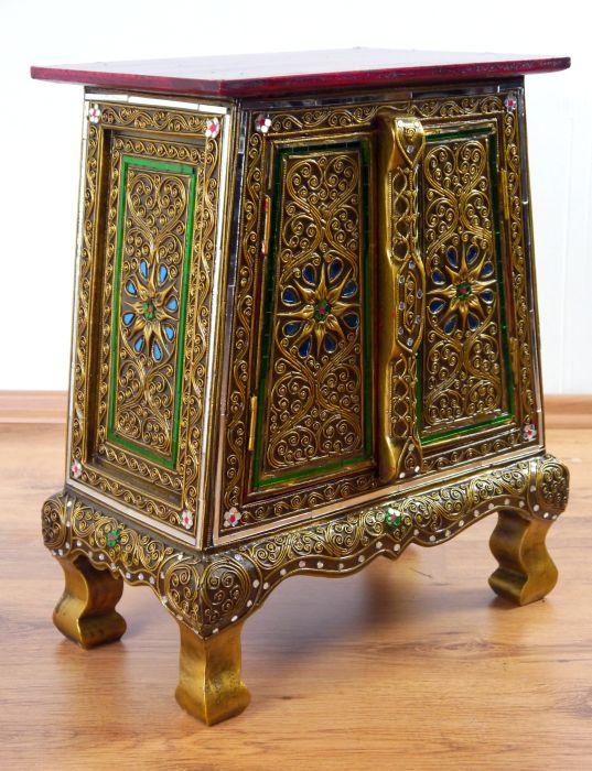 Tiny glass mosaic cupboard small cabinet handmade thai for Thai furniture