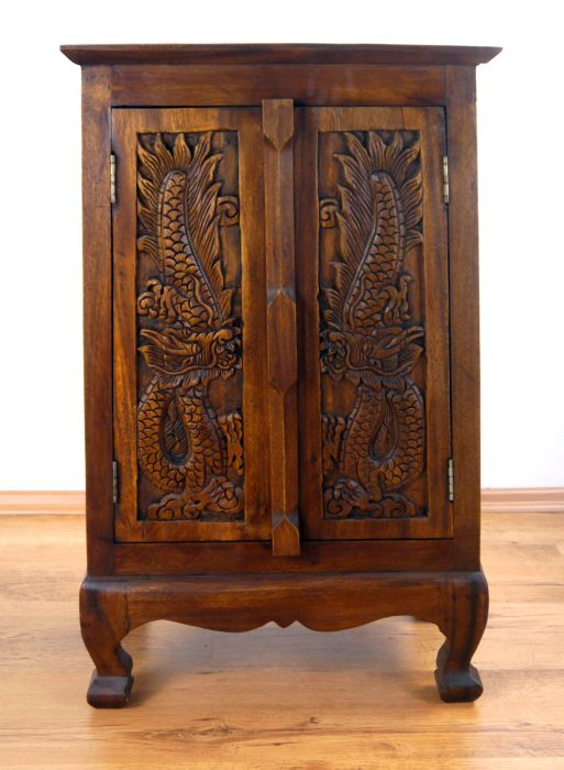 massivholzschrank mit drachen asia kommode nachtschrank handarbeit ebay. Black Bedroom Furniture Sets. Home Design Ideas