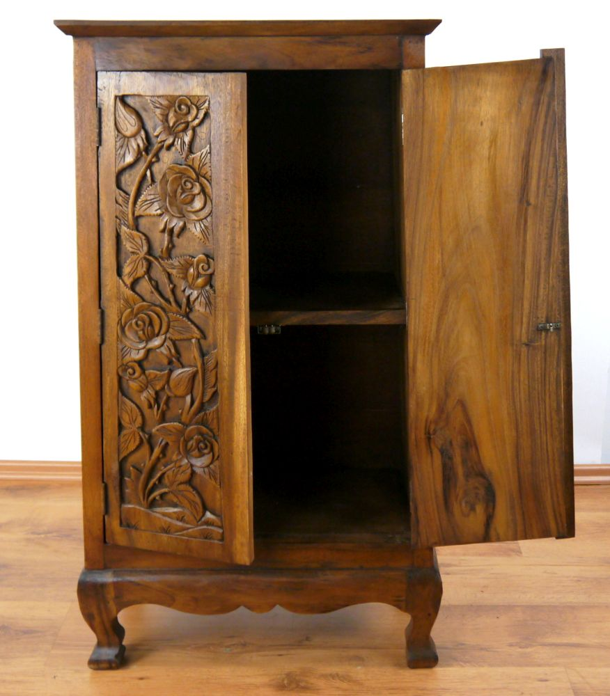 asiatischer schrank mit rosenschnitzerei kommode massivholz handarbeit ebay. Black Bedroom Furniture Sets. Home Design Ideas
