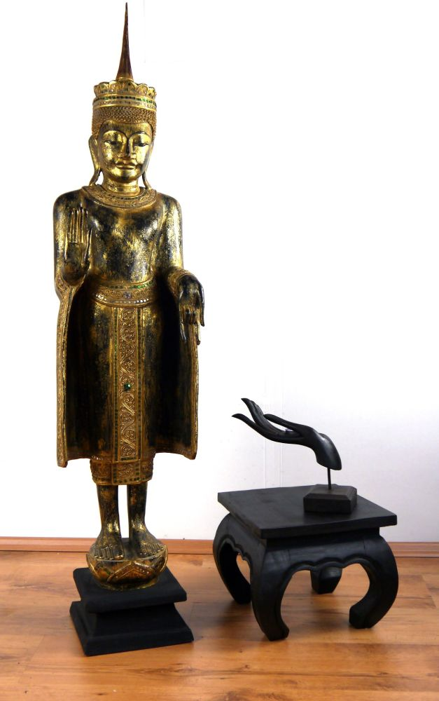 gro er thai buddha tempelw chter handarbeit holzfigur deko asiatische skulptur ebay. Black Bedroom Furniture Sets. Home Design Ideas