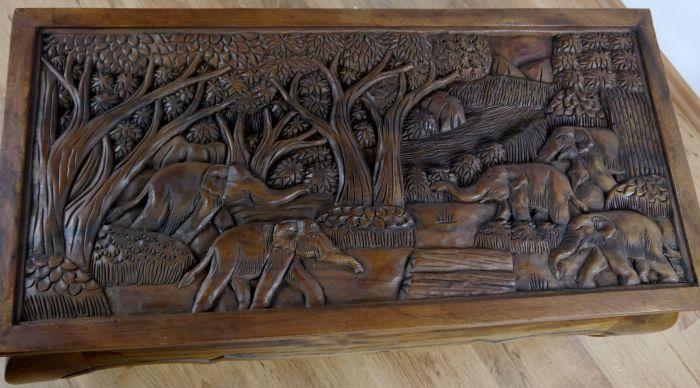Opiumtisch braun Elefant 100x50cm Couchtisch Massivholz