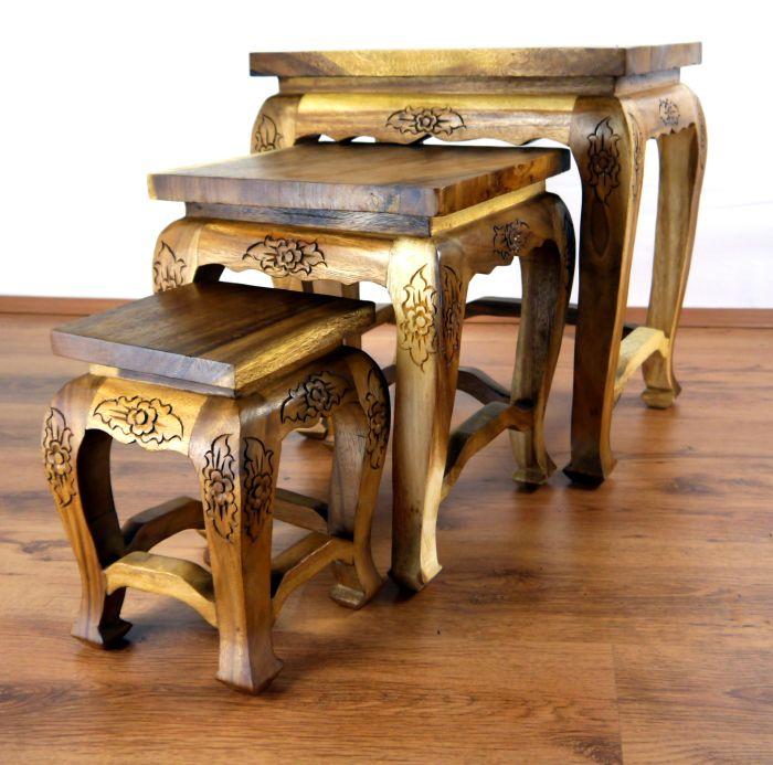 opiumtische 3er set beistelltisch thai m bel couchtisch. Black Bedroom Furniture Sets. Home Design Ideas