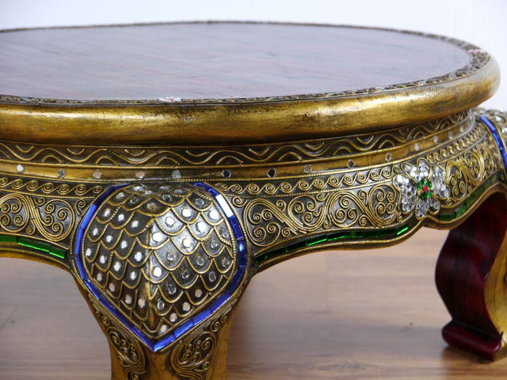 Opiumtisch,rund,Glasmosaikverzierung, Beistelltisch