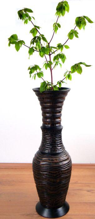bodenvase majest t asiatische blumenvase handarbeit dekovase holzvase ebay. Black Bedroom Furniture Sets. Home Design Ideas