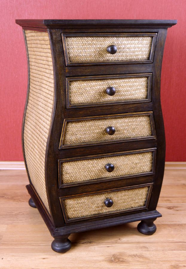 hohe rattankommode asia schubladenschrank rattanschrank. Black Bedroom Furniture Sets. Home Design Ideas