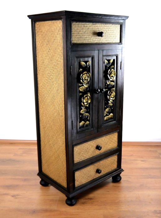hoher asiatischer rattanschrank schnitzerei kommode thailand handarbeit ebay. Black Bedroom Furniture Sets. Home Design Ideas